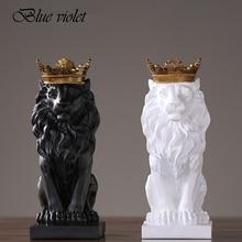 2020 새로운 크리 에이 티브 현대 황금 크라운 검은 사자 동상 동물 입상 조각 홈 장식 다락방 장식품 선물 2