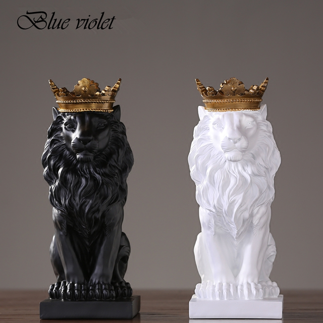 2020 New Creative Modern Golden Crown Black lion Statue Animal Figurine Sculpture For Home Decorations Attic Ornaments Gifts 2