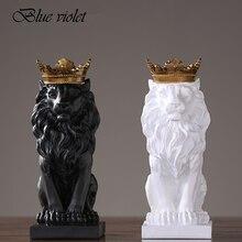 2020 di trasporto del nuovo Creativo Moderno Golden Crown Nero Statua del leone Animale Figurine Scultura Per Le Decorazioni di Casa Soffitta Ornamenti Regali 2