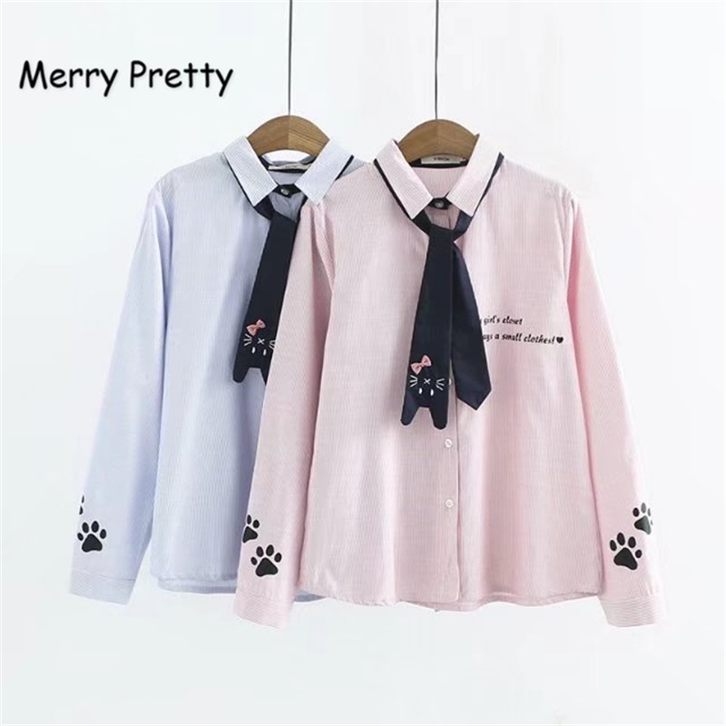Merry Pretty Spring Women's Shirt Preppy Style Cute Necktie Cat Letter Embroidery Vertical Striped Long Sleeved Blouse Female