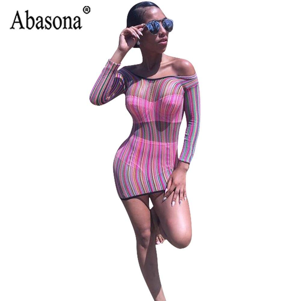 8038f1c257f3 Abasona Rainbow Stripe Sexy Mesh See Through Pencil Dress Women Long Sleeve  O Neck Mini Dress