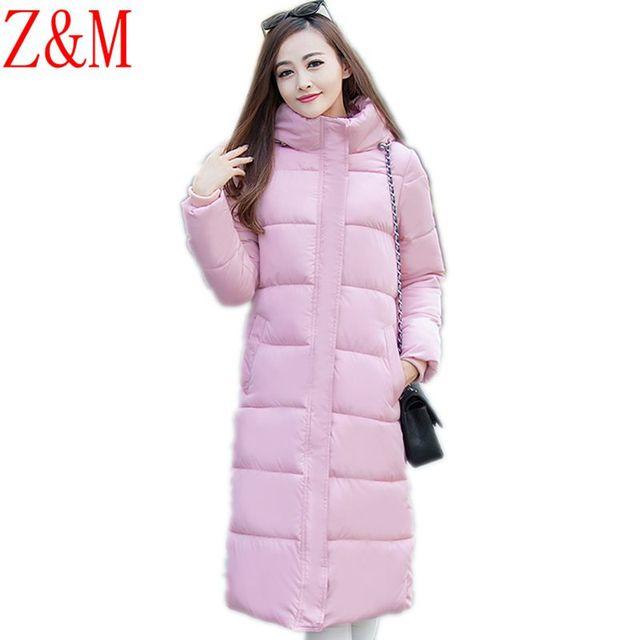 Новый Куртка женская мода Тонкий Длинный большой размер пуховик хлопок повседневная Корейский зимняя куртка