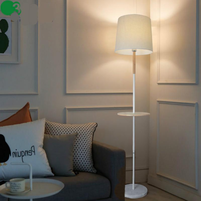 Hohe Qualitt Moderne Nordic Weiss Eisen Eichenholz Led E27 Boden Lampe Mit Teetisch Fr Schlafzimmer Wohnzimmer Deko Licht 1993
