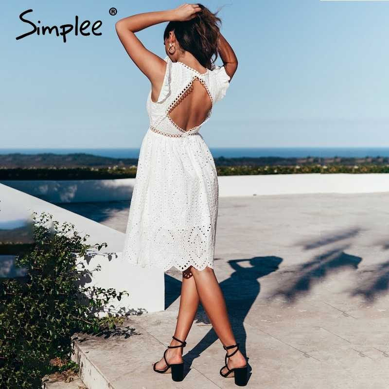 fa16299a580a3 Simplee Sexy white women summer dress 2019 Backless v neck ruffle cotton  lace dress Vintage holiday beach short female vestidos