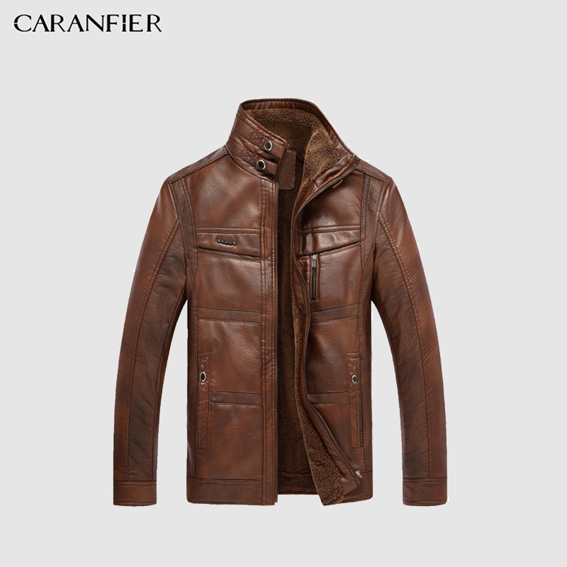 CARANFIER Mens Leather Jackets Winter Warm Coat Plus Thick Outerwear Male Biker Motorcycle Zipper Top Quality Men Coats M 5XL-in Jackets from Men's Clothing    1
