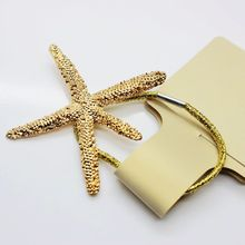 Newest ocean style elastic hand alloy starfish hair bands gold elatic for women hair accessories