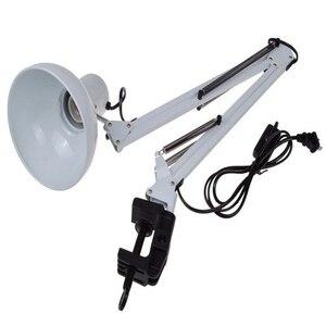 Image 5 - EU/US Plug Flexible Swing Arm Clamp Mount Lamp Office Studio Home E27/E26 White Table Desk reading Light AC85 265V Mental+ABS