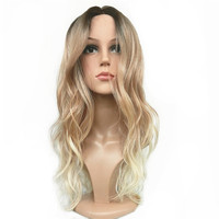 StrongBeauty Women S Ombre Lace Front Wigs Synthesis Natural Long Wavy Brown Blonde Highlights Full Wig
