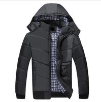 Зимнее пальто Для мужчин Повседневное хлопковое пальто 2017, Новая мода с капюшоном черный теплые зимние куртки парка Для мужчин плюс размер M...