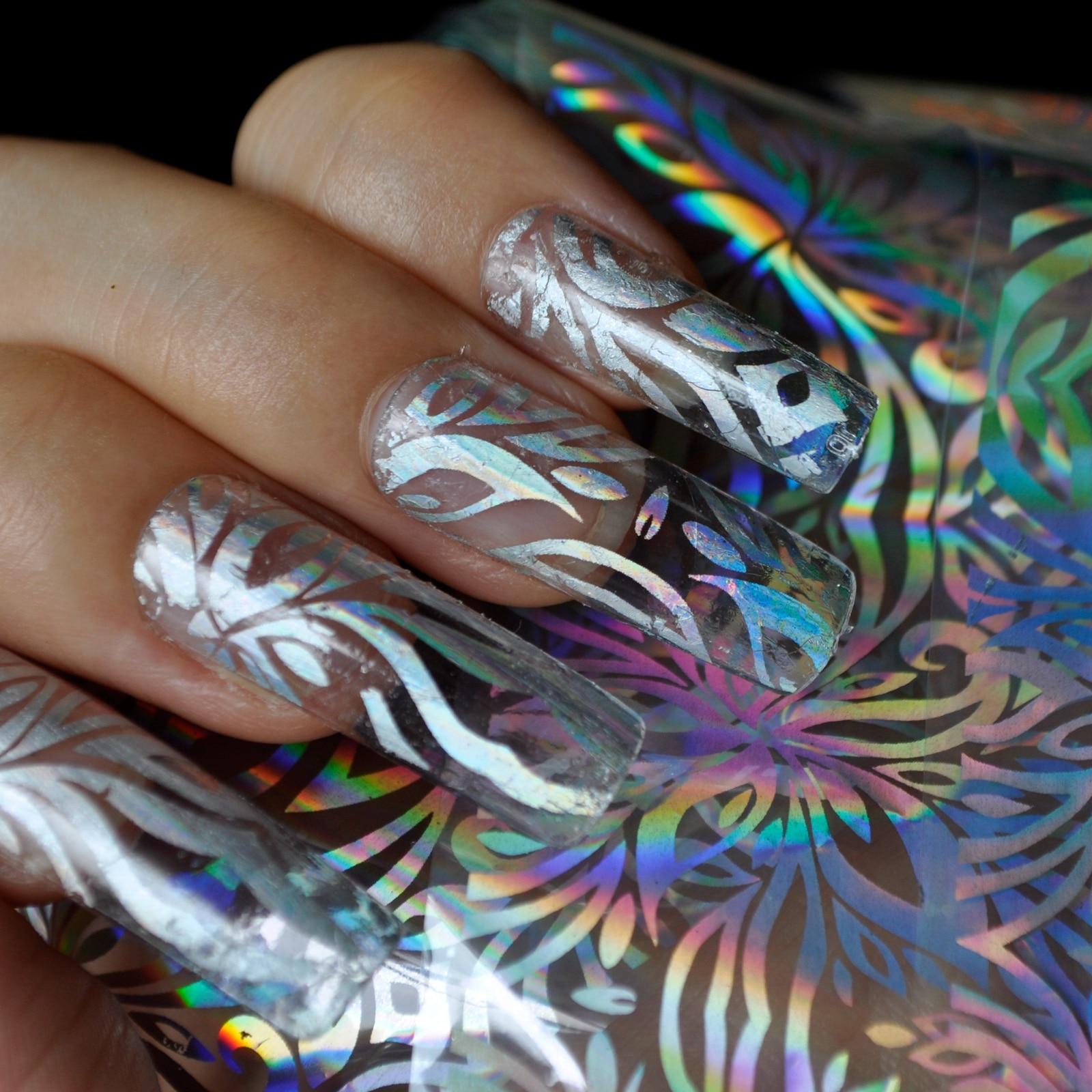 Nail Foils Silver Glossy Flower Transparent Conversion Sticker DIY Nail art T