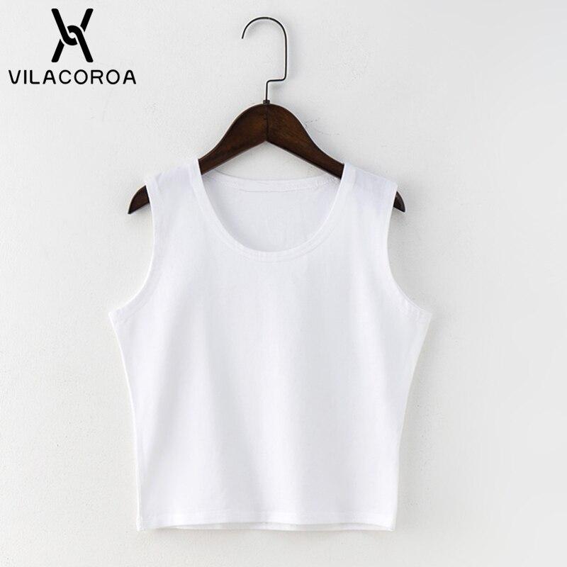 Czarny okrągły dekolt bez rękawów Harajuku damski T-shirt bawełniany crop top koszula damska dziewczyny Lady Tee topy Streetwear Camiseta Mujer 6