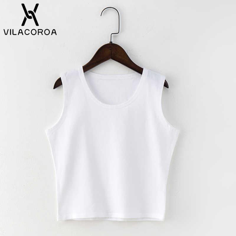 黒ラウンドネックノースリーブ原宿女性の tシャツコットンクロップトップ女性のシャツ女の子女性 tシャツストリートトップス camiseta mujer