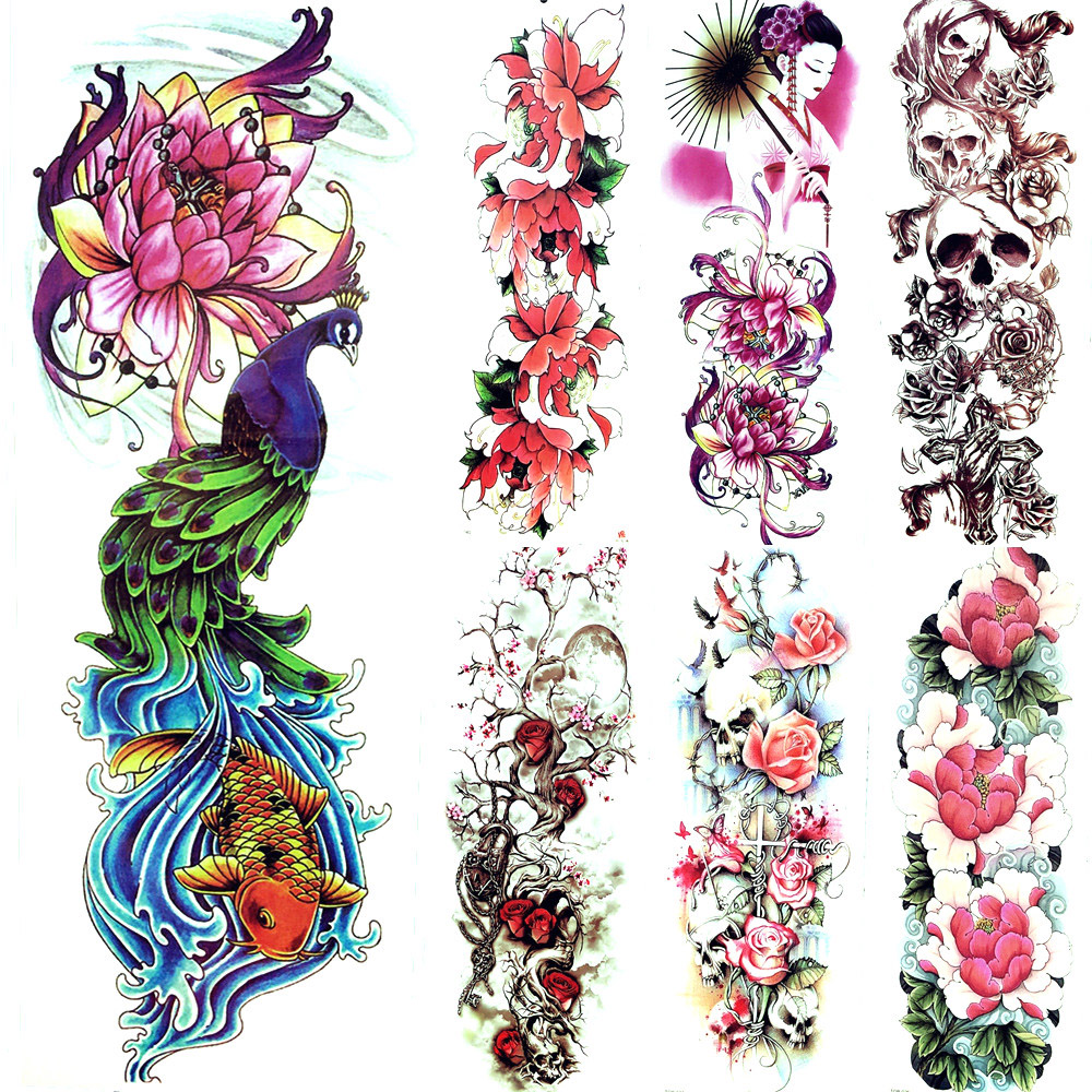 Us 161 5 Offpeacock Fish Carp Lotus Flower Buddha Tattoo Sticker Sexy Summer Style Waves Temporary Tattoo Women Girl Tatoo Makeup Legs In
