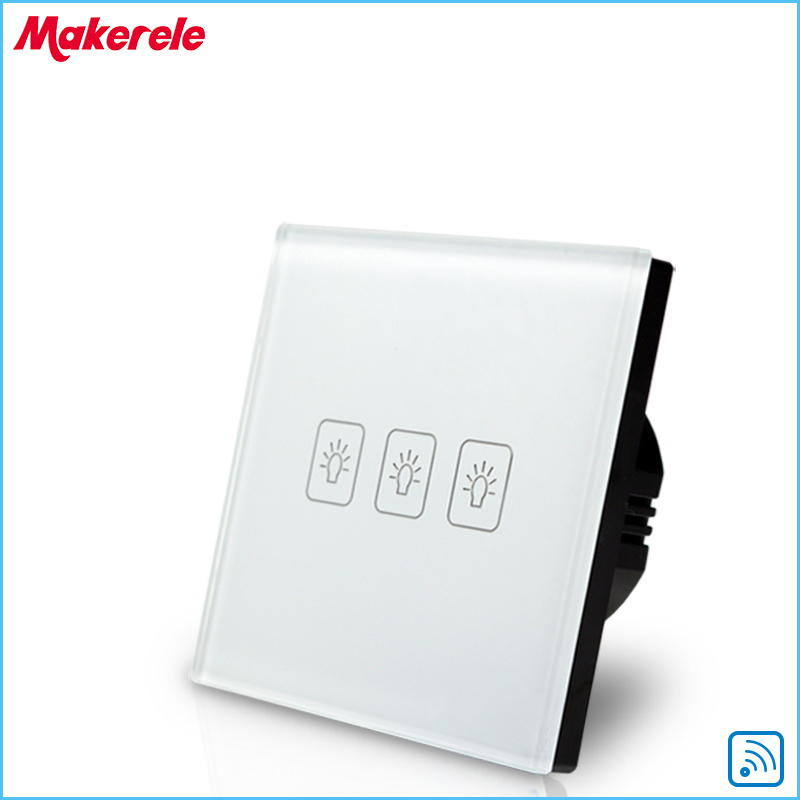 3 Gang1 way Remote Touch Switch EU Standard RF Remote Control Light Switch White Crystal Glass Panel smart home eu touch switch wireless remote control wall touch switch 3 gang 1 way white crystal glass panel waterproof power
