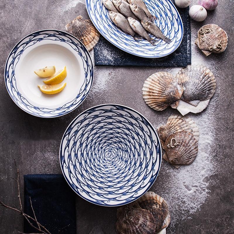 8 Inch Ceramic Dinner Plates Round Fish Printed On glazed Porcelain Steak Pasta Desserts Creative Cute Dishes \u0026 Plates 1 Piece-in Dishes \u0026 Plates from Home ... & 8 Inch Ceramic Dinner Plates Round Fish Printed On glazed Porcelain ...