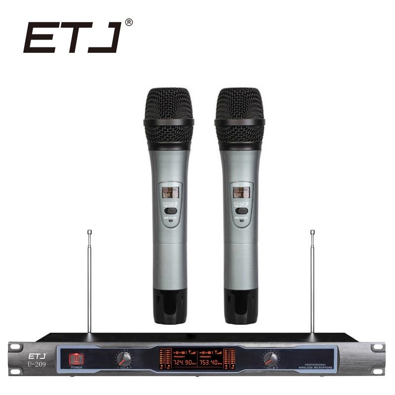 ETJ Brand Professional Wireless Microphone Changable Handheld Bodypack Headset Lavalier Microphone U-209 etj brand wireless vhf changable handheld bodypack headset lavalier microphone dual wireless microphone u 201
