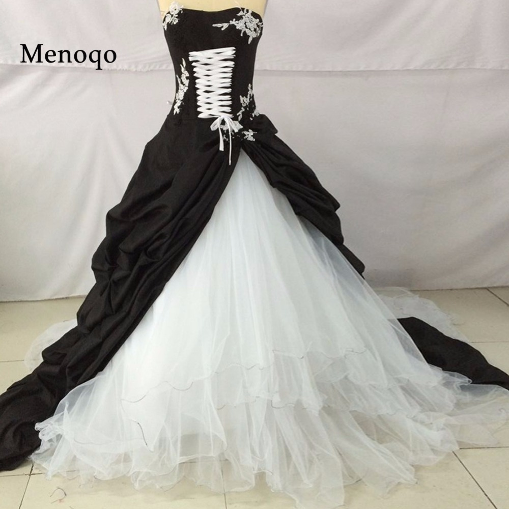 Medieval Black And White Gothic Wedding Ball Gown: W03072 Robe De Mariee Distinctive Victorian Ball Gown