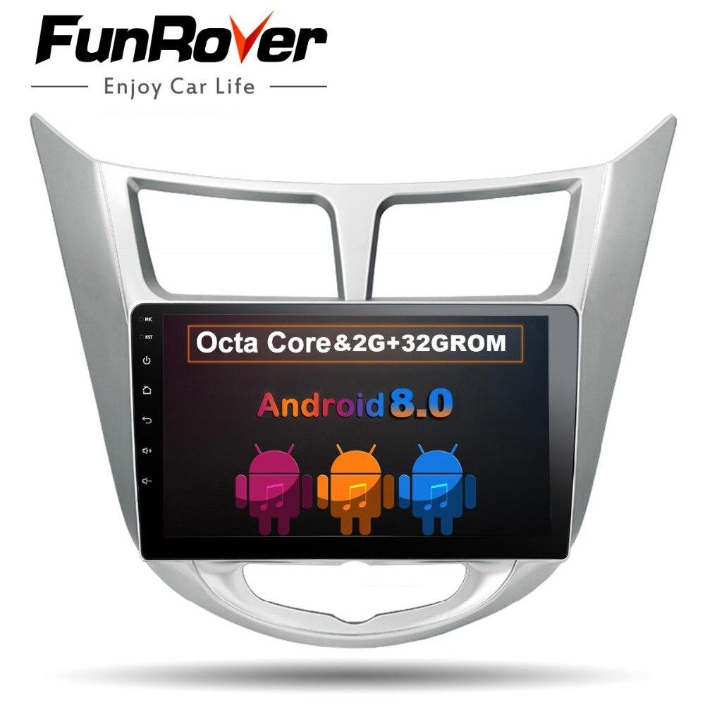 Funrover 9 pouce Octa 8 Core 2 din dvd De Voiture pour Hyundai Solaris accent Verna i25 Android 8.0 radio vidéo lecteur gps navigation FM