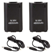 2x 4800mAh Batteries Charger Cable For Xbox 360 Wireless Controller Gamepad Ni MH Backup Battery Pack
