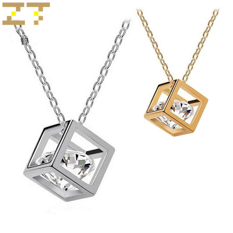 Hot Sale Fashion Geometric Cubic Zirconia 3D Square Crystal Pendant Choker Luxury Statement Silver Necklace for Women Jewelry