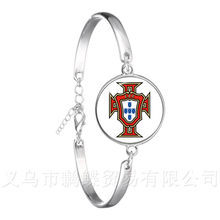 2018 Football Glass Dome Leather Bracelet Columbia/France/Russia National Football Badge Logo Bangle Gift For Fans(China)