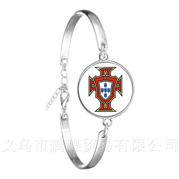 2018 Football Glass Dome Leather Bracelet Columbia/France/Russia National Football Badge Logo Bangle Gift For Fans image