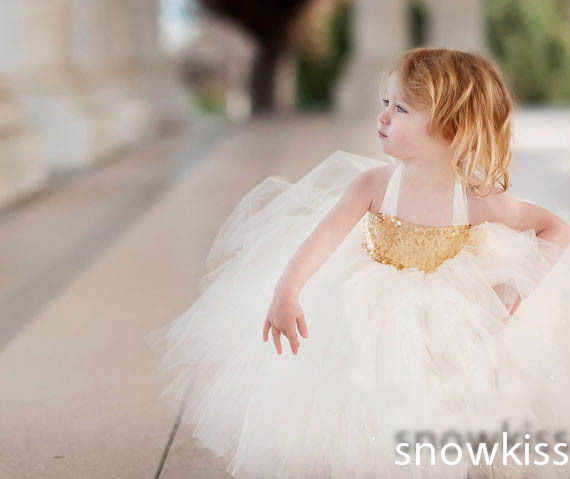1b640e07ae8 Cute golden sequins mid-calf toddler tulle flower girl dresses lovely  pleated kids birthday party ball gowns with bow sash