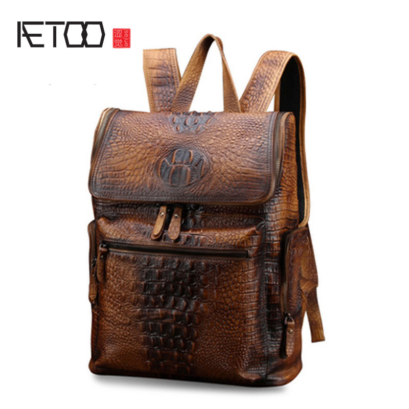 AETOO Men's leather backpack casual retro shoulder bag male leather crocodile pattern bag trendy fashion bag