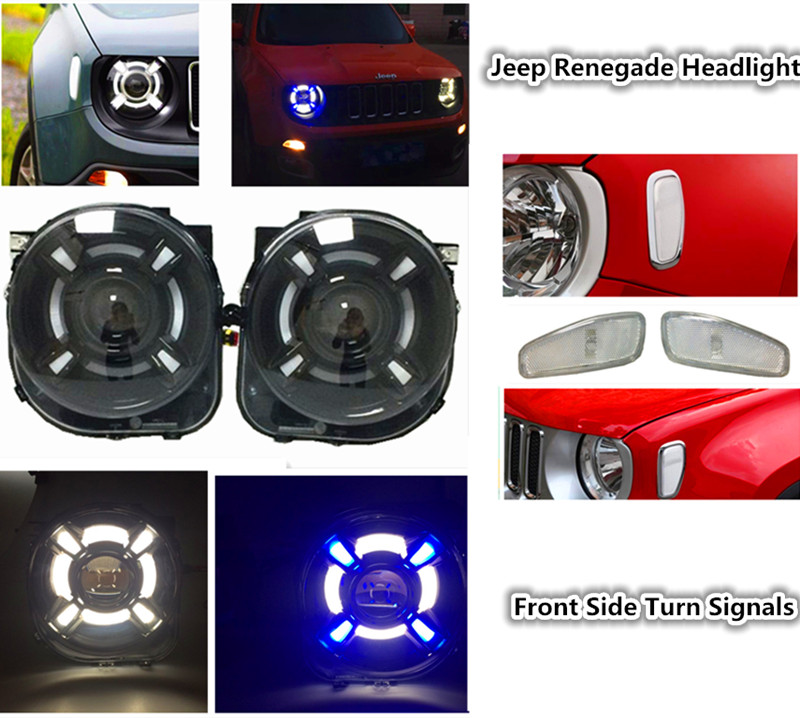 Car Styling For Jeeep Renegade led headlights Angel eye DRL lamp + Led front Side Turn Signals light Bi-Xenon KIT For Renegade 1pair led side maker lights for jeeep wrangler amber front fender flares parking turn lamp bulb indicator lens