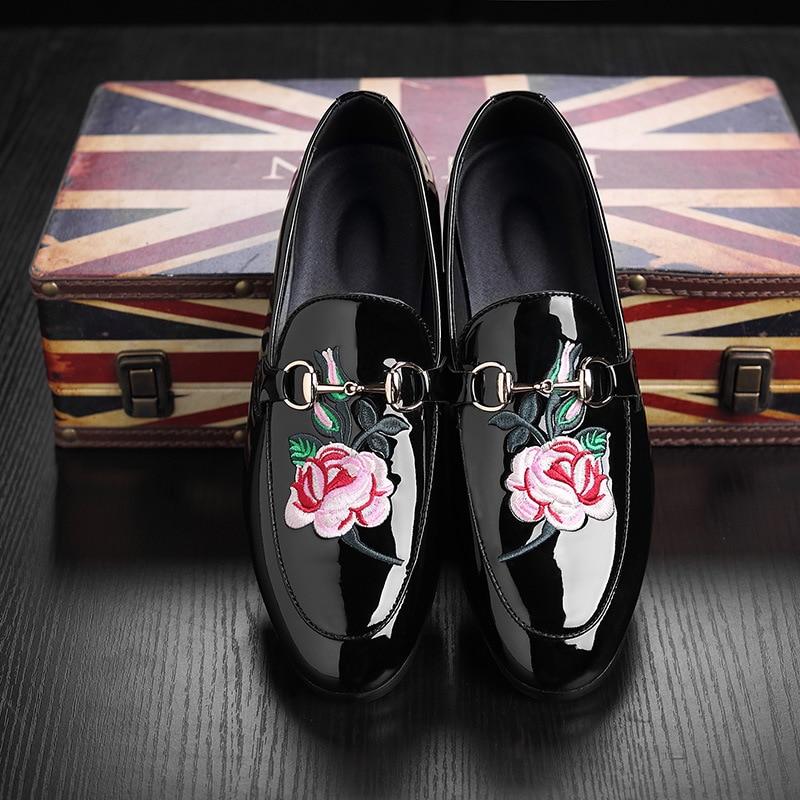 Musim panas pria sepatu kasual cerah kulit datar pribadi bordir peony - Sepatu Pria - Foto 2