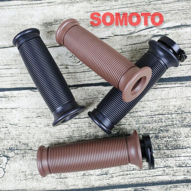 vintage motorcycle handle grips round rubber grips black and brown handle grips of motobike with end cap грипсы ethic rubber grips blue
