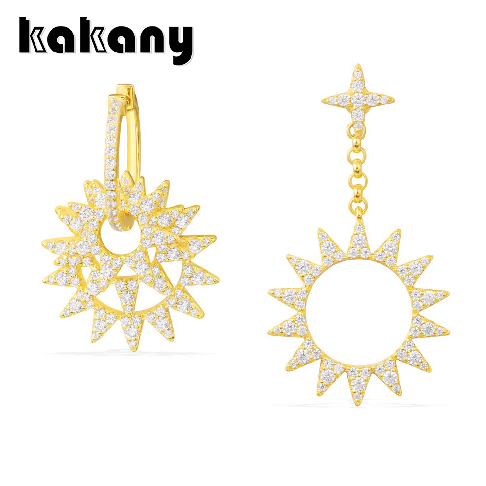 KAKANY Asymmetric Gold  Diamond Earrings with Sun Charm Original 1:1 High Quality 925 Sterling Silver Fashion Jewelry KAKANY Asymmetric Gold  Diamond Earrings with Sun Charm Original 1:1 High Quality 925 Sterling Silver Fashion Jewelry