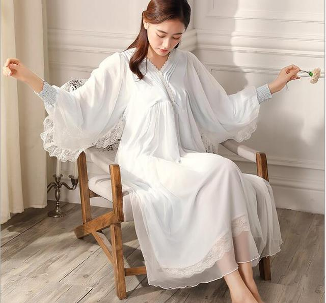 2fdd4efb77 Pure Royal Memory Pure Cotton Nightgown Princess Long Sleeve Nightdress  Ladies Sleepwear White Women s Nightwear
