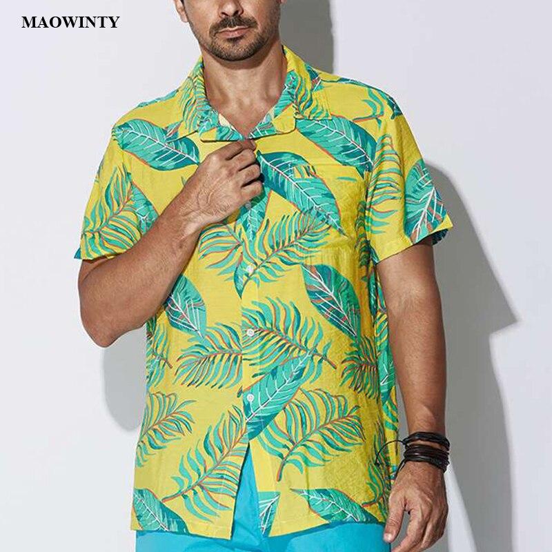 Рубашка с принтом, рубашки с рукавами, 2019 новые модные летние мужские рубашки, повседневные однобортные рубашки с отложным воротником