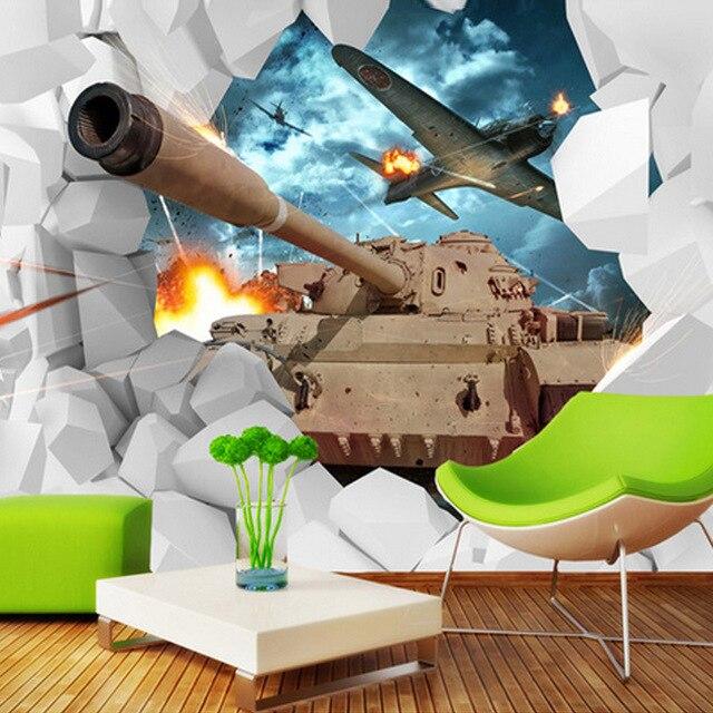 Custom Muurschildering 3D Stereoscopische Tanks Muur Papier Militaire Thema Behang Creatieve Persoonlijkheid Vliegtuigen Achtergrond Foto Behang.jpg 640x640 - Thema Behang
