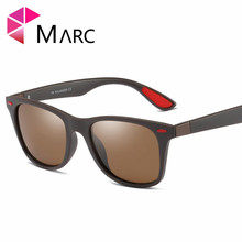 MARC 2019 New Fashion Men Sunglasses TR90 Driving Square Shades Trend Glasses Matte Classic Solid Resin Brown Lens Red Eyewear 1