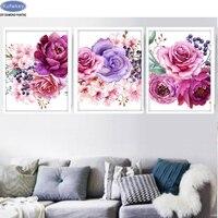 취미, 5D, diy 다이아몬드 그림 3 개, 꽃,