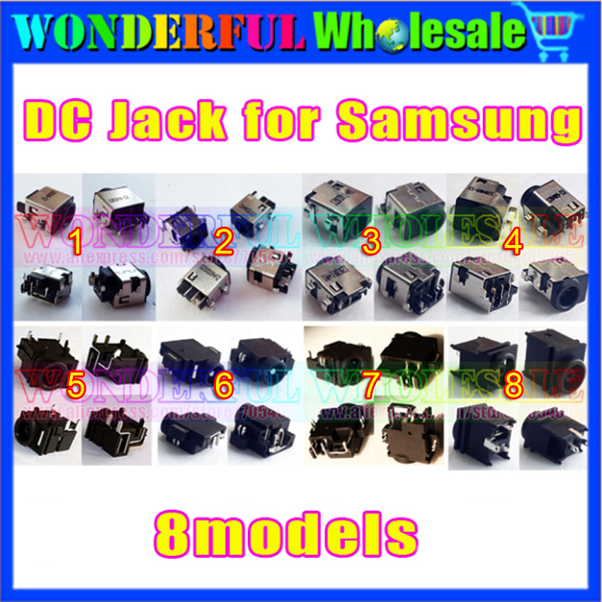 8 models wholesale DC Jack Connector for Samsung laptop NP300 NP-RV410 RV415 RV510 RV511 RV515 RV520 RV720 RC510 RF510 RF710 100 pcs free shipping new dc jack for samsung rv500 rv511 rv509 rv515 rv520 rv720 rv530 rv515 rv420 dc power jack port socket