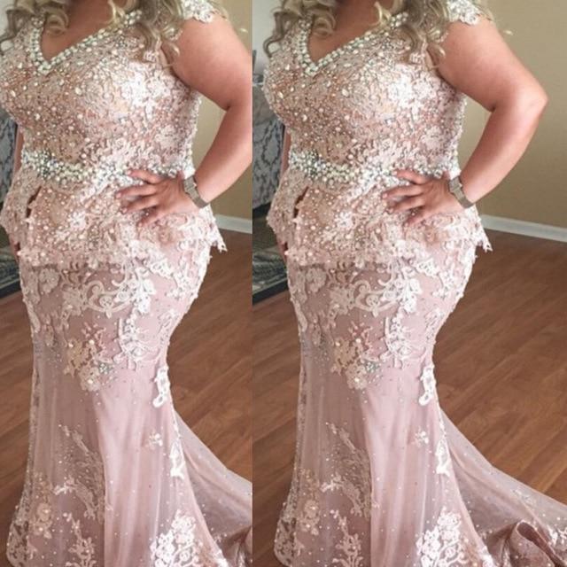 Plus Size Evening Gowns V Neck Mermaid Lace Eleganta Peals Rosa Aftonklänning För Gravida Kvinnor Formella Klänningar Vestido De Longo