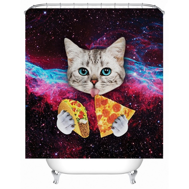 Funny Cat Shower Curtain Printed Waterproof Polyester Bath Curtain ...
