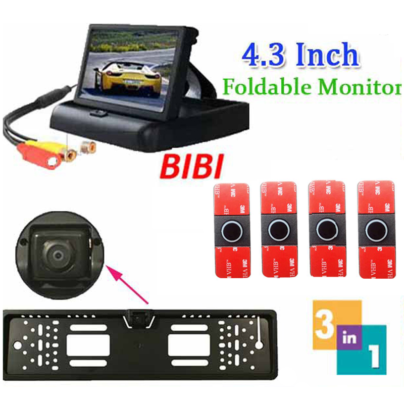 3 in 1 Car Parking 4 Sensors Backup Radar Rear System 4.3'' LCD Monitor & Russia License Plate Frame Parking Reverse Camera for skoda superb b6 type 3 t 5d liftback 200 2014 car reverse rear camera 4 3 tft lcd monitor 2 in 1 parking system
