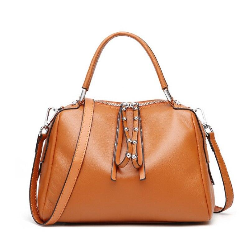 Genuine Leather Women Bag Female Messenger Bags High Quality Soft Natural Leather Shoulder Bags Rivet Boston Ladies Handbag Bags все цены