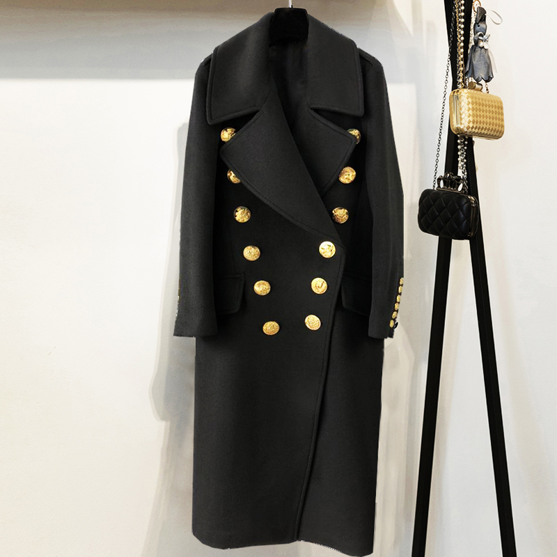 HIGH QUALITY New Stylish 2018 Designer Wool Coat Women's Animal Buttons Double Breasted Long Overcoat
