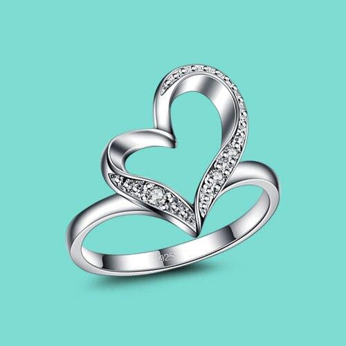7172e7ba6bef € 6.27 19% de DESCUENTO Nuevo anillo de la plata esterlina 925 para las  mujeres corazón colgante de circón blanco anillos señora la boda encanto ...