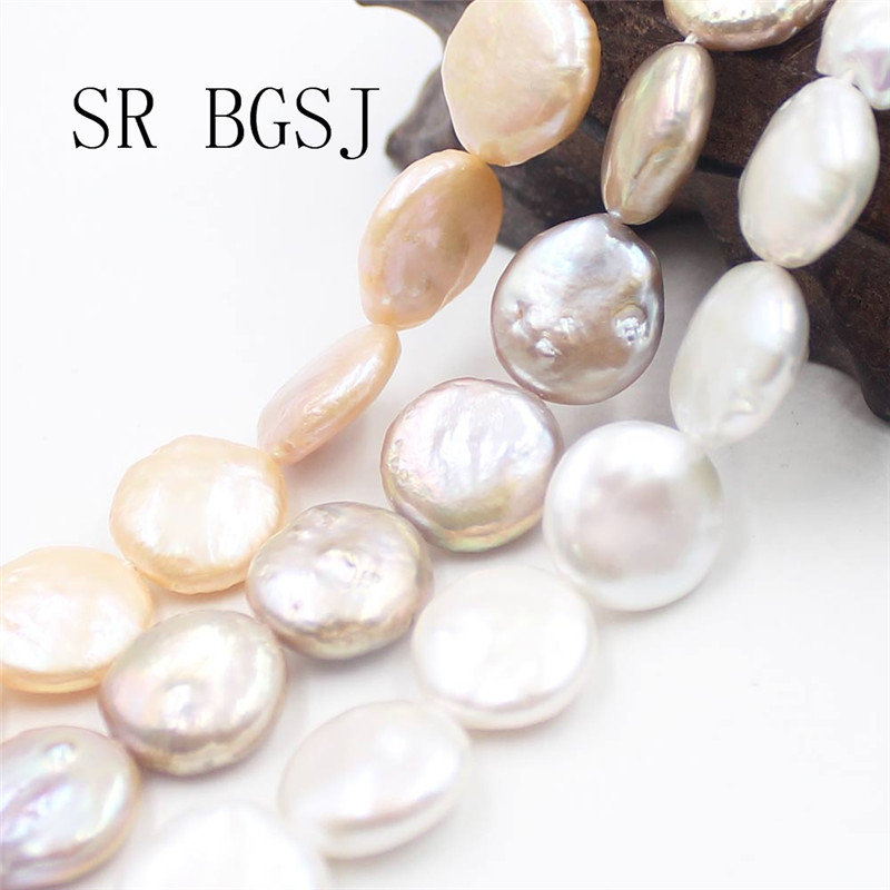 13-14mm Ivory White Coin Flat Disc Centre-drilled Freshwater Pearls
