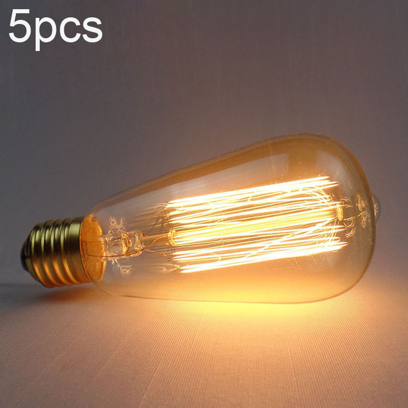 LightInBox 5 pcs E27 110 V/220 V Globe Rétro Edison Ampoule Cru ST64 Ampoule À Incandescence Pour Restaurant Club Lumière En Verre