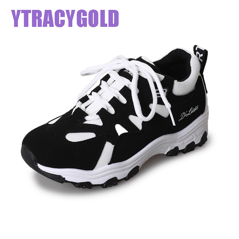 YtracyGold Casual Shoes Women Breathable Mesh Sneakers Woman Spring Flat Trainers Damping Shoes Zapatos Mujer Tenis Feminino new brand black white vintage women footwear lace up casual oxford flat shoes woman british style breathable zapatos mujer