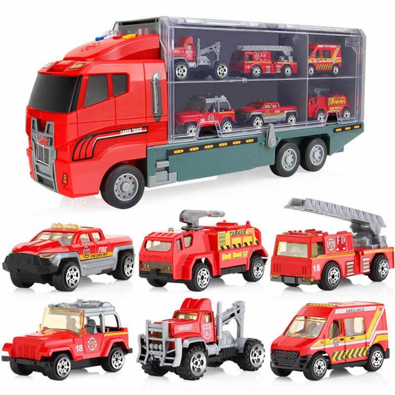 Camión de construcción contenedor coche juguete conjunto camiones excavadora cemento camión volquete excavadora montacargas rodillo de carretera para niños