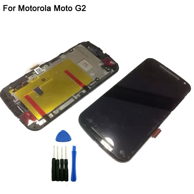 ФОТО Black LCD Screen For Motorola Moto G2 XT1603 LCD Display Touch Screen Digitizer With Frame Assembly With Logo + Opening Tools