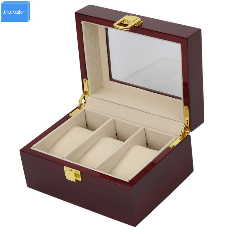 Luxury Wood Glossy Lacquer 3 Grids Watch Box&Case 3 Display Jewelry PVC Window Top Organizer Custom Watch Boxees logo watchcase storage luxury 22 slots 2 layer wood glossy lacquer watch box jewelry collection display drop shipping supply